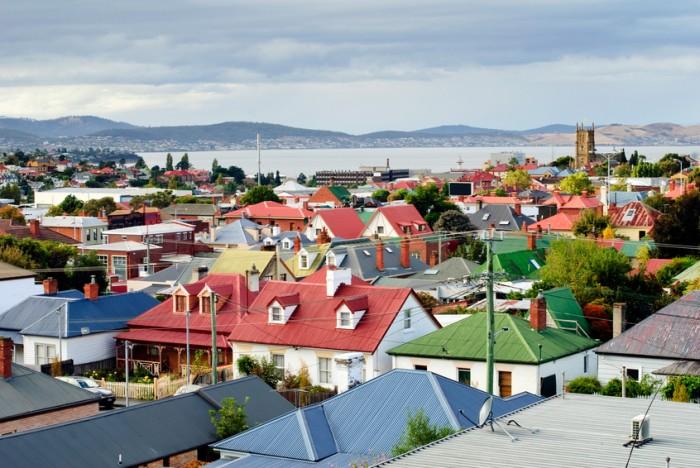 Colourful rooftops in the suburb of North Hobart, Hobart, Tasmania, Australia