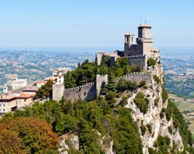 Scenic view of Guaita fortress on Monte Titano with San Marino city in background