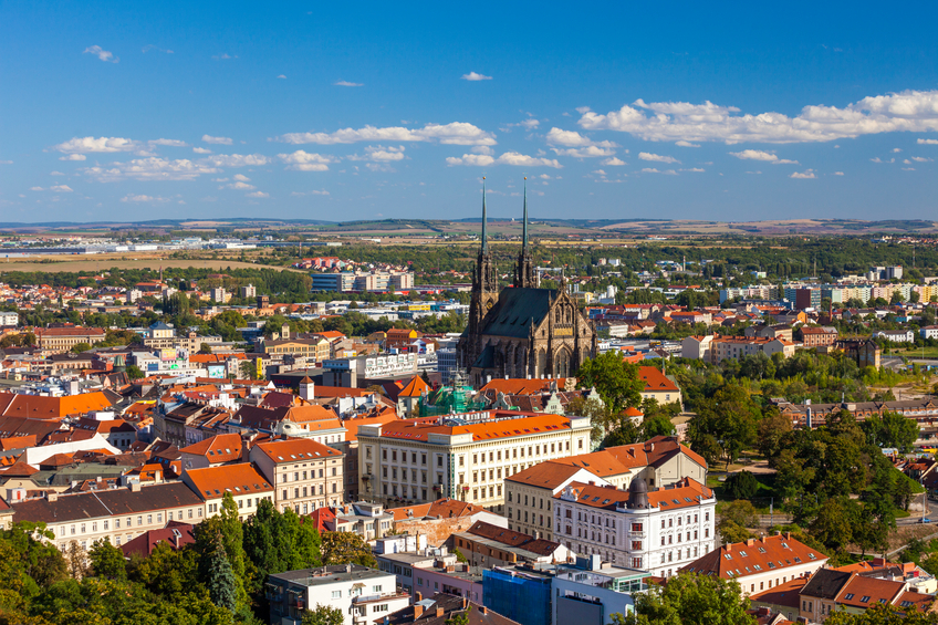 """Brno, Czech Republic - September 13, 2011: St Peter and St Paul Cathedral (Katedrala sv Petra a Pavla) Brno, Czech Republic with city view on a clear day in summer."""