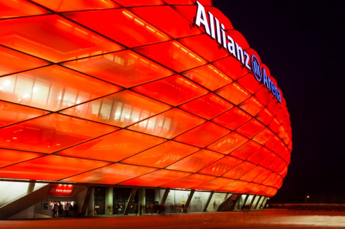 Munich, Germany aa November 24, 2012: Spectators leaving the Allianz Arena in Munich during a Bundesliga football game between FC Bayern Munich and Hannover 96.