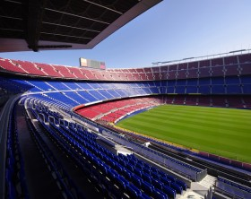 wide view of FC Barcelona (Nou Camp) soccer stadium, Spain