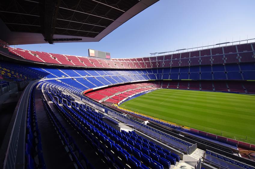 wide view of FC Barcelona (Nou Camp) soccer stadium, Spain