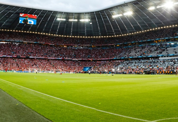 Munich, Germany - May 19, 2012: The inside of Allianz Arenabefore FC Bayern Munich vs. Chelsea FC UEFA Champions League Final game at Allianz Arena on May 19, 2012 in Munich, Germany.