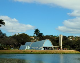 External photograph of the church of St. Francis of Assisi in Belo Horizonte Minas Gerais Brazil which is part of the architectural ensemble of the Pampulha Lagoon in Belo Horizonte.