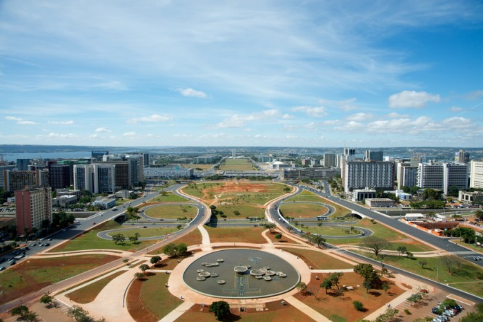 Panoramic of the Monumental Axis, a central avenue in Brasilia's city design, viewed from Brasilia's TV Tower.
