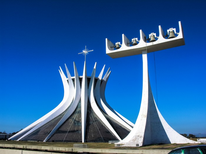 Brasilia, Brazil - June 19, 2005: The Cathedral of Brasilia in Brasilia, Brazil.It was designed by Oscar Niemeyer, and was completed and dedicated on May 31, 1970.