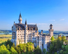 Fussen, Ger many - June 7, 2013: Summer view of the famous Neuschwanstein Castle,