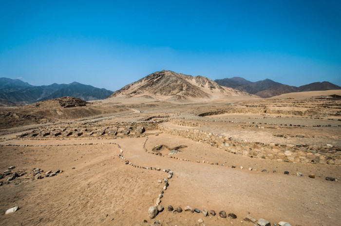 Panoramic view of some structures in the archeological city of Caral, Peru