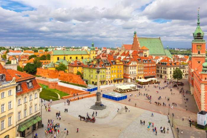 Aerial view of the Royal Castle and Sigismund Column at Castle Square in Warsaw Old town, Poland.