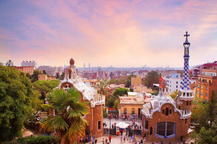 Park Guell in Barcelona at sunset, Spain
