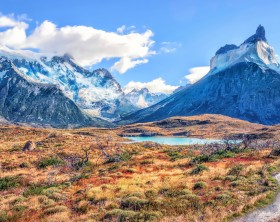 The path near Mirador Cuernos in Torres del Paine National Park, Patagonia, Chile.