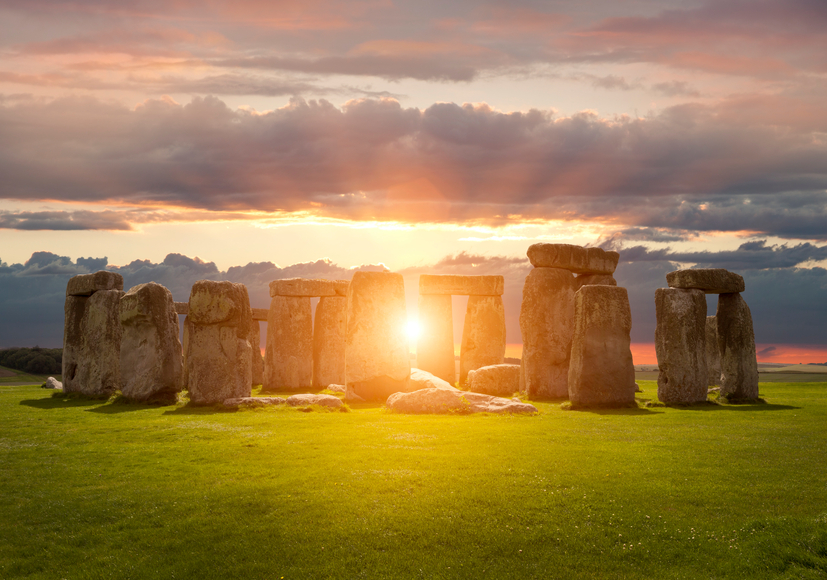 Stonehenge at sunset, Wiltshire, England.
