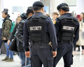 Seoul, South Korea-November 16, 2015: Airport security, police at Seoul Incheon International Airport.Taken with selective focus.November 16, 2015 Seoul, South Korea