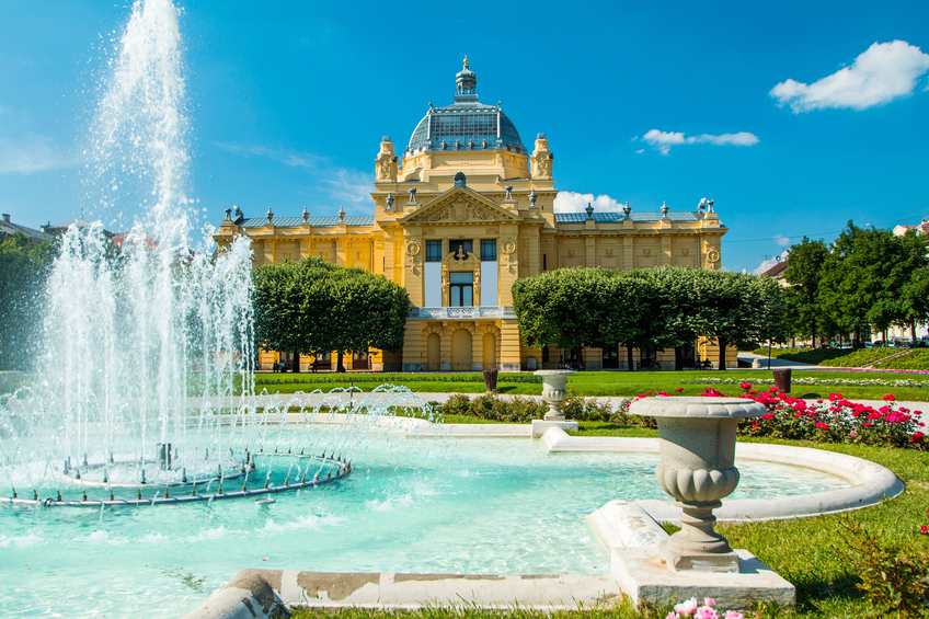 Zagreb, Croatia, June 2nd, 2015: Art pavilion and fountain in Zagreb capital of Croatia, popular destination for tourists in center of Zagreb.