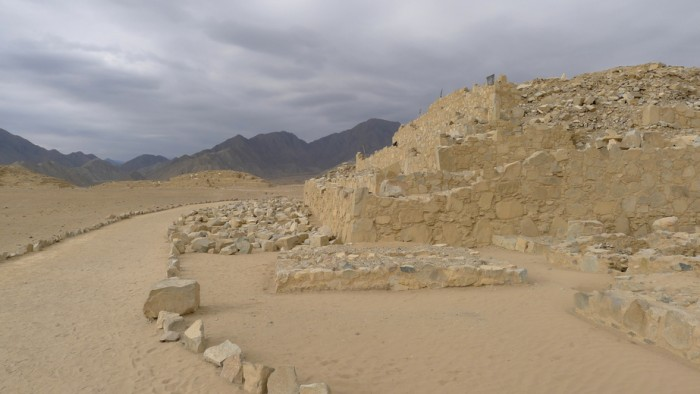 Built construction in Caral of about 5000 years old and was the capital of Caral Civilization, the first of America. Caral is considered by UNESCO as a World Heritage Site. It is located in the Supe Valley, Barranca, 200 kilometers north of Lima, Peru
