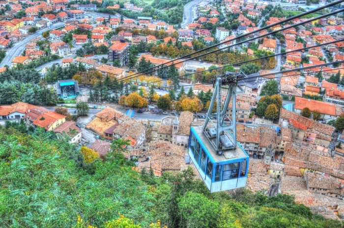 Cable car over San Marino in hdr
