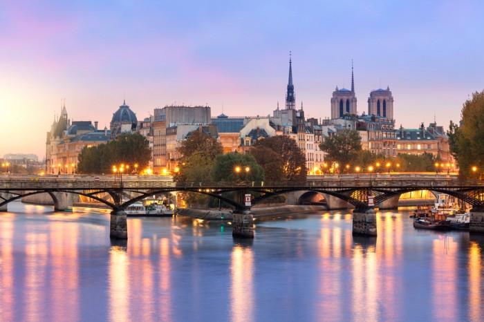 Paris Ile de la Cite and Pont des arts at Morning