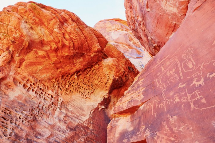 Petroglyphs on a rock in the Valley of the Fire in Nevada, USA