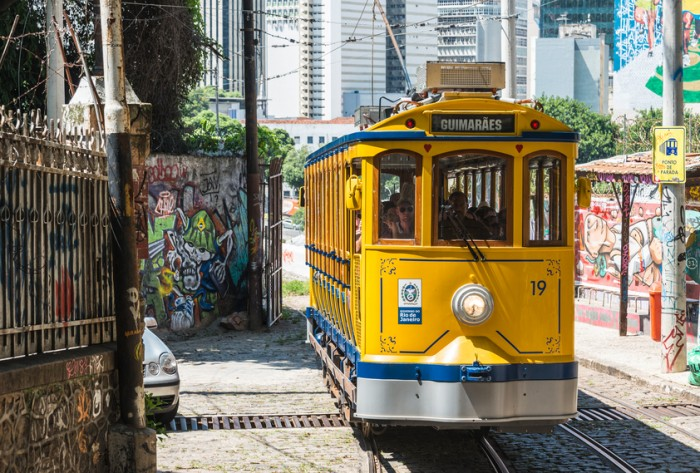 Rio de Janeiro, Brazil - February 19, 2016: After many years in Rio de Janeiro again have launched a famous tram from Lapa to Santa Teresa district
