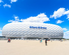 Munich, Germany - July 30, 2015: the football stadium Allianz Arena in Munich, Germany. It designed by Herzog & de Meuron and ArupSport.