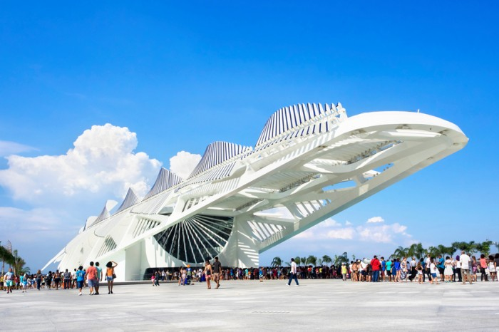 Rio de Janeiro, Brazil - December 19, 2015: People visiting the Museum of Tomorrow (Museu do Amanha), designed by Spanish architect Santiago Calatrava, in Rio de Janeiro, Brazil.