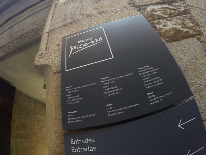 Madrid, Spain - July 24, 2015: Picasso Museum. Information sign of The Picasso Museum. Photo taken with GoPro Hero 4.