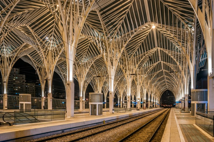 Night view of the arches inside of the Lisbon Oriente Station, capital of Portugal