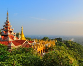 Mandalay Hill is located to the northeast of the city centre of Mandalay in Myanmar,known for its abundance of pagodas and monasteries.
