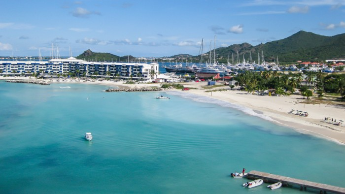 Simpson Bay in St. Maarten.  St. Maarten is a small dutch and french island in the Caribbean.