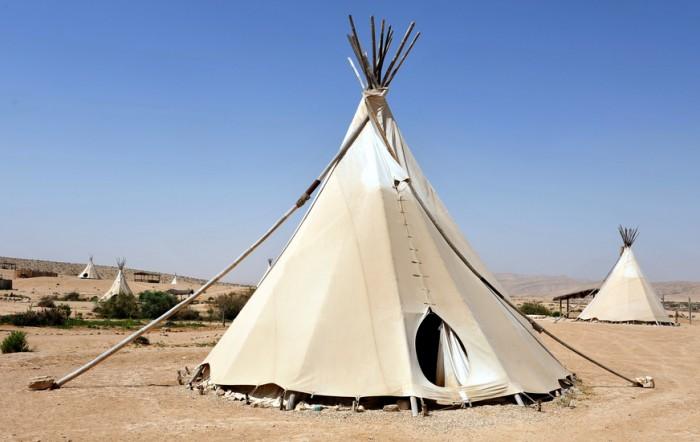 Desert lodges of Tipi Indian tent in the Negev desert , Israel.