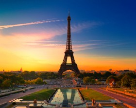 Sunrise in Paris, with the Eiffel Tower.