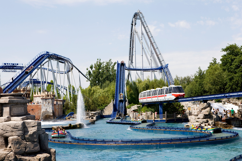 """Rust, Germany - July 12, 2011: Wide angle shot of the Poseidon rollercoaster in the Europa - Park theme park. The Europa - Park is the largest seasonal theme park in the world and is situated near the borders of Germany, France and Switzerland."""