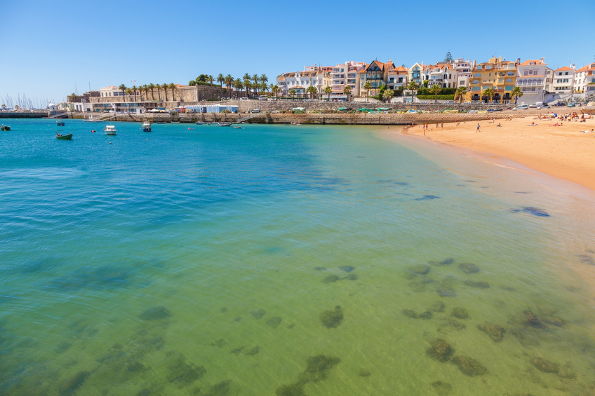 Beach, town and harbor of Cascais at a summer day, Portugal