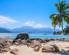 Idyllic beach at Ilha Grande, Rio do Janeiro, Brazil.