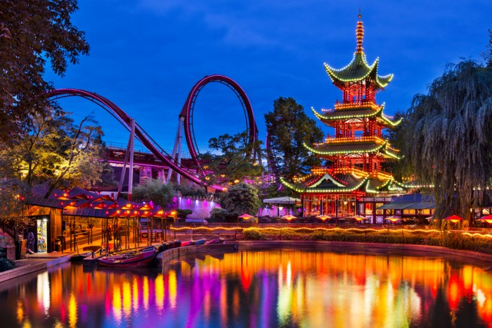 Copenhagen, Denmark - September 15, 2013: Chinese Pagoda at Tivoli Gardens.The amusement park is the second oldest in the world.