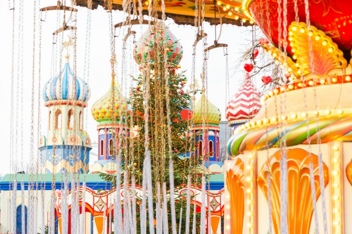 Festive christmas decorations at Tivoli Gardens Denmark.