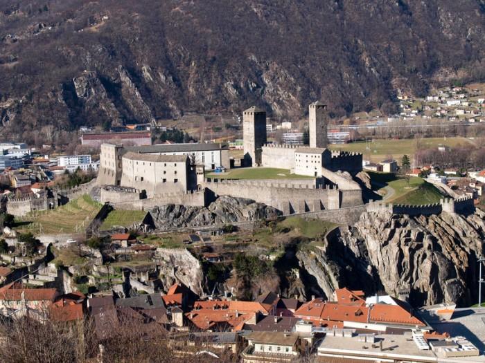 Bellinzona, Switzerland - January 28, 2014: Bellinzona, top view of Castelgrande