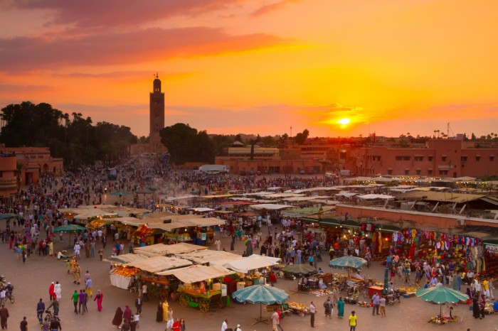 Jamaa el Fna also Jemaa el Fnaa, Djema el Fna or Djemaa el Fnaa is square and market place in Marrakesh's medina quarter. Marrakesh, Morocco, north Africa. UNESCO Heritage of Humanity.