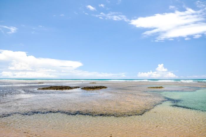 Beach of Taipu de Fora at low tide - Bahia (Brazil)