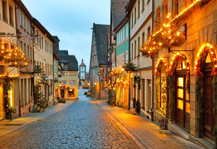 Rothenburg ob der Tauber is one of the most beautiful and romantic villages in Europe, Franconia region of Bavaria, Germany.