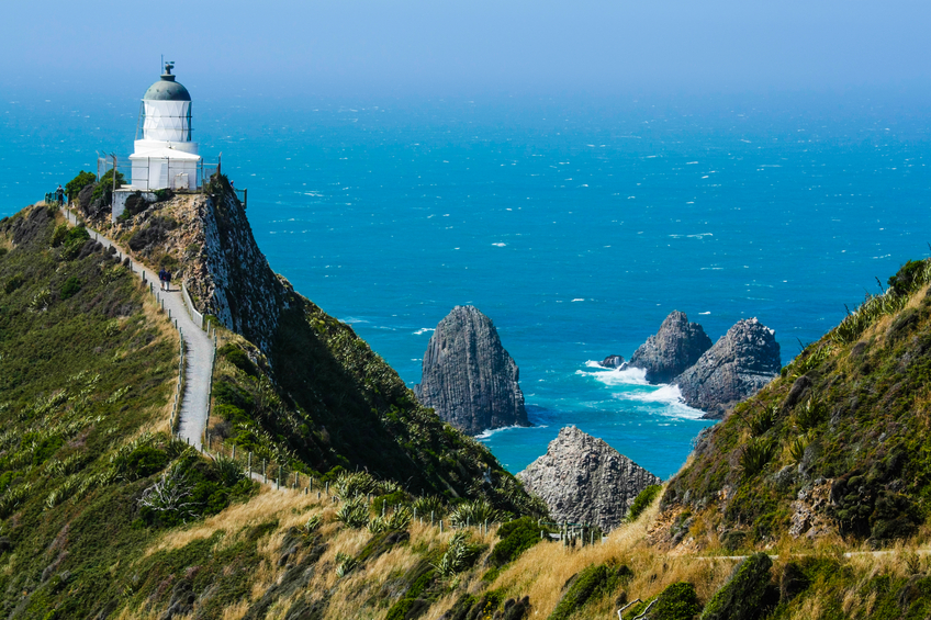 Nugget point lighthouse in New Zealand, South island