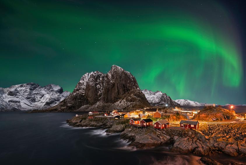 Beautiful aurora over Hamnoy, in  the Lofoten islands, Norway