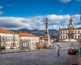 Ouro Preto, Brazil - December 2, 2014: Street scene of Teradentes Square The centre of The city  with typical architecture ,UNESCO world heritage city center of Ouro Preto in Brazil