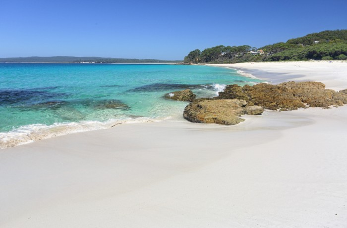 Beautiful crystal clear waters and white sands of Chinamans Beach, Jervis Bay Australia.   With space for copy
