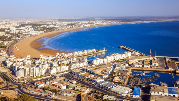 Panorama of Agadir, Morocco. A view from the mountain.