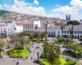 Quito, Ecuador - March 6, 2015: Activity in the Plaza Grande in the colonial center of Quito, Ecuador on March 6, 2015