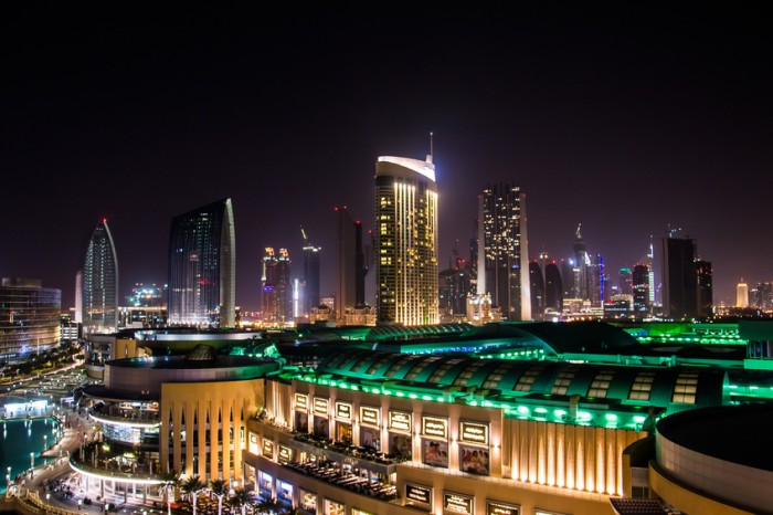 Dubai Mall at night photographed from the Adress