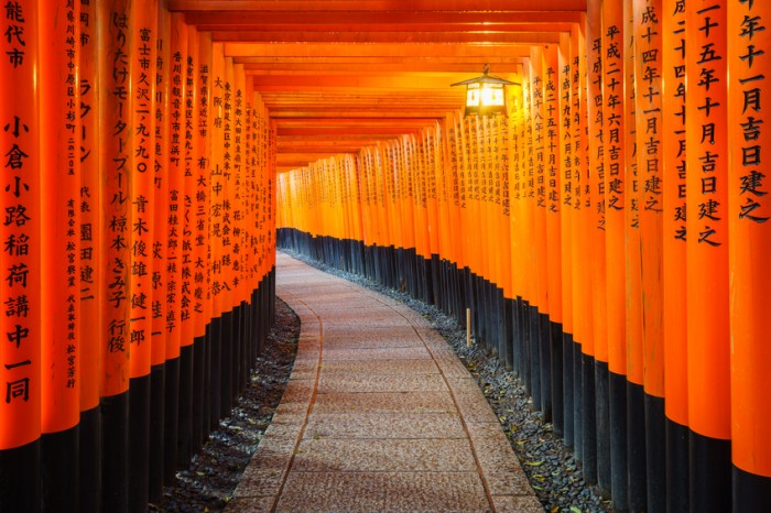 Kyoto, Japan - March 29, 2015: Torii gates in Fushimi Inari Shrine.