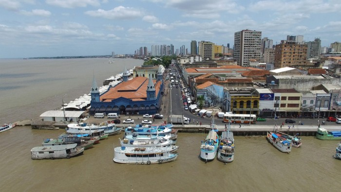 Belem, Brazil - November 3, 2015: Aerial view of Belem Harbor, Brazil