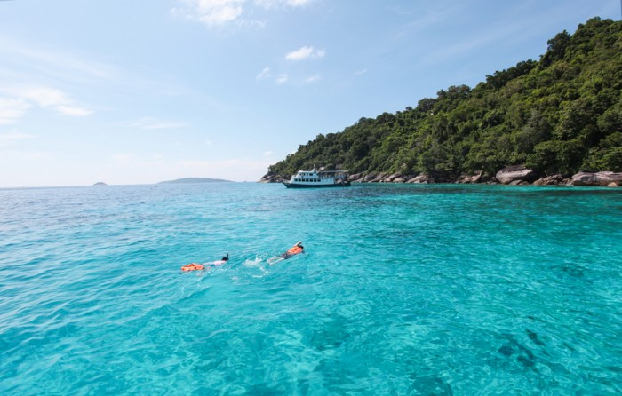 Beautiful Similan Islands or nine Similan Islands consists of nine small islands in the Andaman Sea. With clear waters ideal for diving tourism, Thailand.